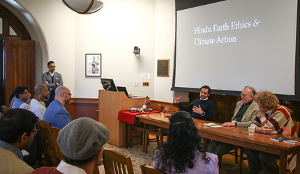 A panel discussion underway during The Hindu Earth Ethics and Climate Action conference at Yale.