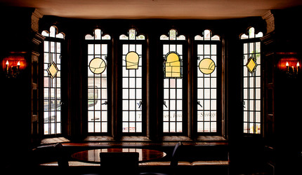 Stained glass windows in Hopper College.