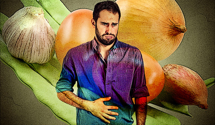 A graphic representation of a man with upset stomach in front of different foodstuffs.