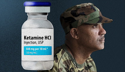 A stylized collage of a bottle of medical ketamine and a soldier looking into the distance.