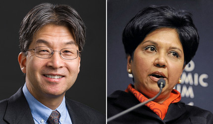 Dr. Albert Ko of the Yale School of Public Health and former PepsiCo CEO Indra Nooyi '80 SOM