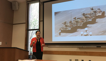 "Louisa Lim presents the iconic ""Tank Man"" photo on April 23."