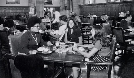 Stephanie Brown, Alexis Krasilovsky, and Doris Zaleznik have lunch together in Berkley College dining hall, 1969