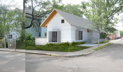 A rendering of a two-family house in New Haven.