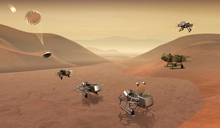Dragonfly mission concept image of entry, descent, landing, surface operations, and flight on Titan.