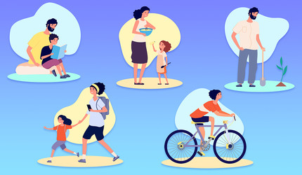 Illustrated collage of people engaging in a variety of healthy behaviors