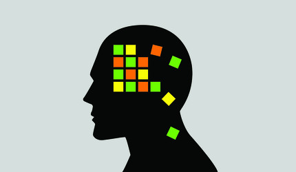 A grid of colored blocks tumbling within the silhouette of a man's profile.