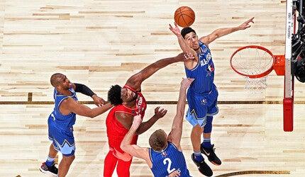 An NBA game in progress