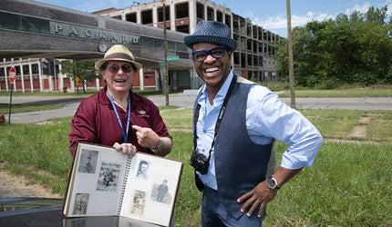 "Thomas Allen Harris (right) on his PBS show ""Family Pictures USA"""