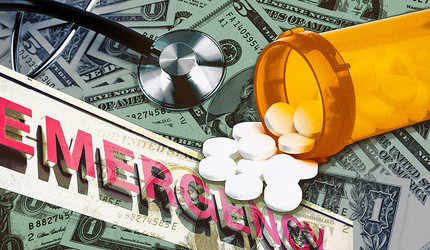 Illustration showing pills, a stethoscope, and an emergeny sign against a backdrop of money.