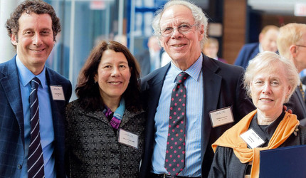 The Poorvu family, from left: Jonathan Poorvu '84, Alison Poorvu Jaffe '81, William Poorvu '56, and Lia Poorvu