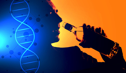 Composite of a man drinking liquor and a DNA strand