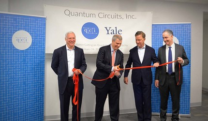 Daniel T. Ciporin, general partner at Canaan; Robert Schoelkopf; Gov. Ned Lamont; and Yale Vice Provost Peter Schiffer