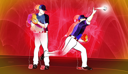 Illustration of baseball players representing the process of pitching and catching bits of quantum data.