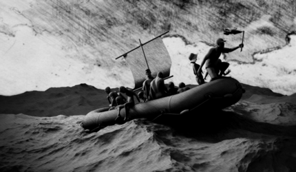 A black and white still image from an art video, depicting a man on a raft in the ocean