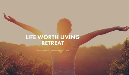 Image from Life Worth Living website showing youth with his arms flung out