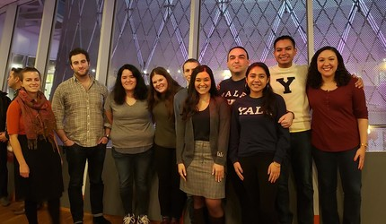 JC Salinas (fourth from right) poses with some of Y Tu Tambien's students.