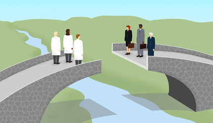 Illustration of scientists and business people looking at each other over an incomplete bridge