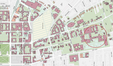 A map of Yale's campus with north Science Hill circled in red