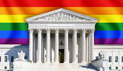 The U.S. Supreme Court building with a rainbow Pride flag imposed behind it
