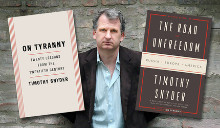 Timothy Snyder with his books On Tyranny and The Road to Unfreedom
