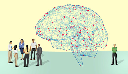 Illustration of people congregating and a brain