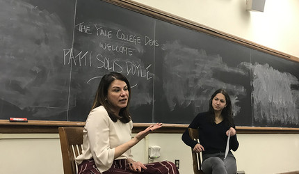 Patti Solis Doyle speaks at Harkness Hall on Feb. 13. (Photo credit: Will Wang)