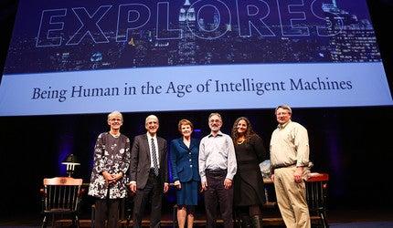 Catharine Bond Hill '85 Ph.D., President Peter Salovey, Margaret Warner '71, Shelly Kagan, Laurie Santos, and Brian Scassellati