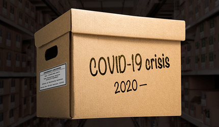 Box labeled, COVID-19 crisis, 2020–