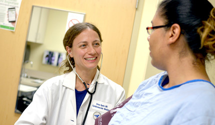 Dr. Erica Spatz with a patient