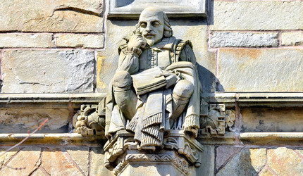 Stone carving of  William Shakespeare.