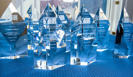 Engraved crystal Y-Work Award trophies on display before being handed out.