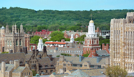 View of central Yale campus rooftops.