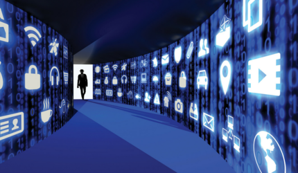 An illustration of a man in a back suit and fedora walking down a hallway of computer icons