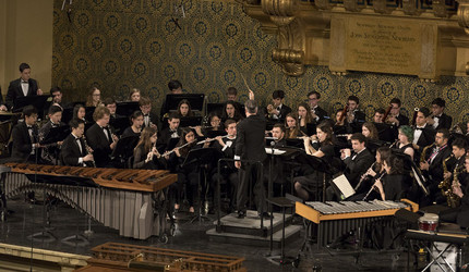 The Yale Concert Band performing at Woolsey Hall.