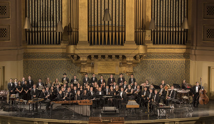 The Yale Concert Band posing at Woolsey Hall.