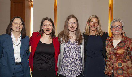 Dr. Linda Mayes, Katherine Gaztambide, Chelsea Clinton, Dr. Megan Smith, Dr. Carolyn M. Mazure celebrate the launch of Elevate