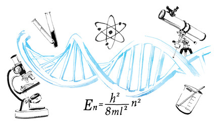 Illustrated collage with a DNA strand and scientific symbols