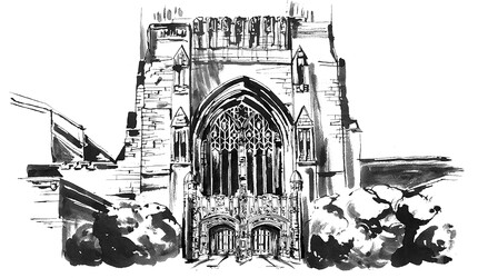 Illustration of the entrance to Sterling Memorial Library.