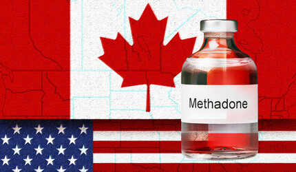 Canadian and American flags with vial of methadone.