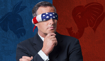 A man blindfolded by the American flag, between Republican and Democrat logos.