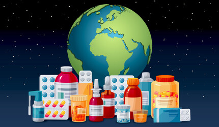 Illustration, planet Earth with medication bottles and packages.