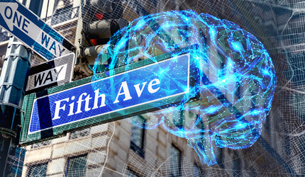 An illustration of a brain superimposed over Fifth Avenue and direction signs, and a map of New York City.