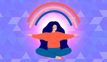 Illustration, woman sitting on the ground with a rainbow over her.