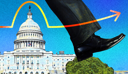 a leg stepping over the U.S. Capitol building.