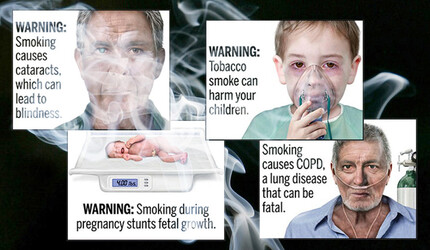 Graphic smoking labels showing health consequences of cigarette smoke.