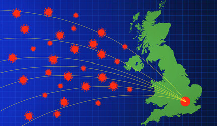 Map of the UK with flight path lines heading west.