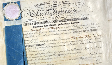 An original diploma from the Yale School of Medicine, awarded to Samuel Allen Wilson in 1852