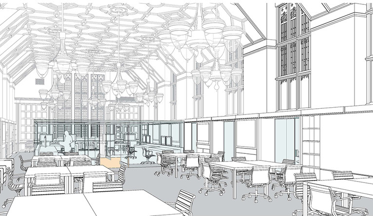 A rendering of the Franke Family Digital Humanities Laboratory in Sterling Memorial Library.