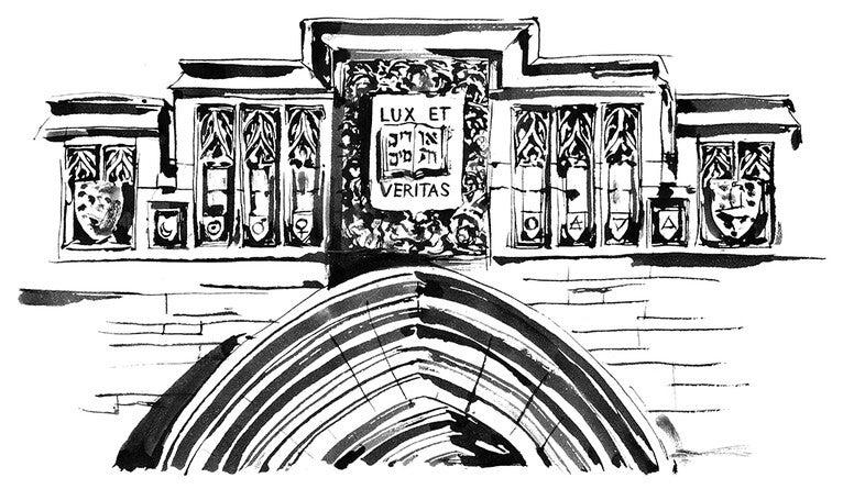 SSS Hall door — Lux et Veritas engraving